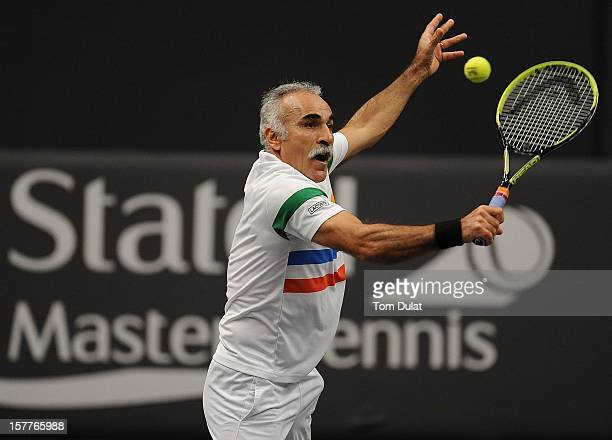 Mansour Bahrami of Iran in action during the match against Wayne Ferreira of South Africa and Peter McNamara of Australia on Day Two of the Statoil...