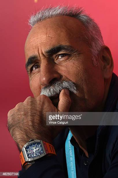 Mansour Bahrami of Iran signing autographs at the Australian Open Big Mac Legends during the 2015 Australian Open at Melbourne Park on January 30...