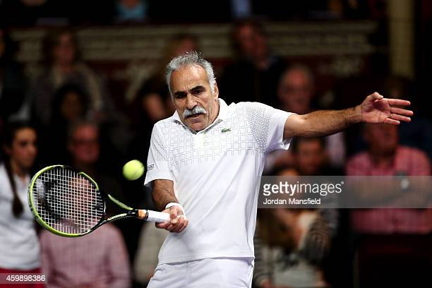 Mansour Bahrami plays a forehand during the Mens Doubles match between Mansour Bahrami and Andrew Castle against Pat Cash and Peter McNamara on day...