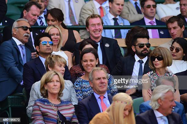 Mansour Barhami Dawn McDaniel Sachin Tendulkar Lindsay Davenport Virat Kohli and Anna Wintour during day eleven of the Wimbledon Lawn Tennis...