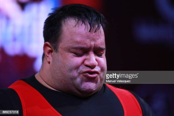 Mansour Pourmirzaei of Irak gestures during the Men's Over to 107 Kg Group A Category as part of the World Para Powerlifting Championship Mexico 2016...