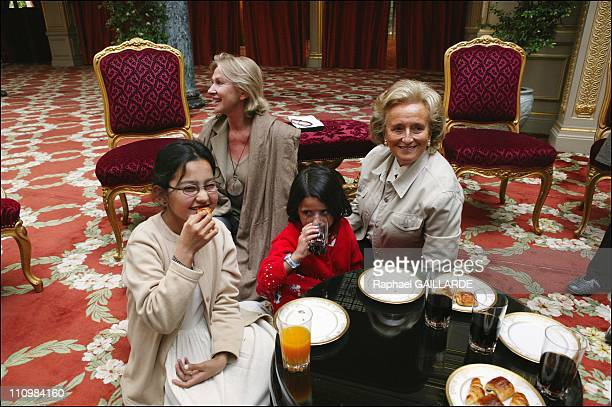 Mansoura Karima with Marine Jacquemin and Bernadette Chirac in Paris France on September 10 2003