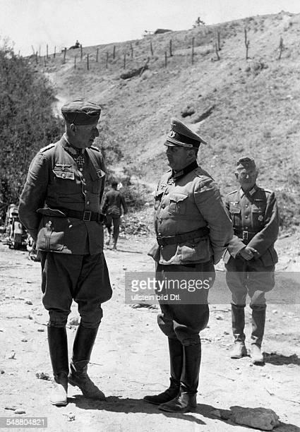 Manstein Fritz Erich von Officer General Field Marshal Germany *24111887 German Field Marshall Erich von Manstein and Colonel Dietrich von Choltitz...