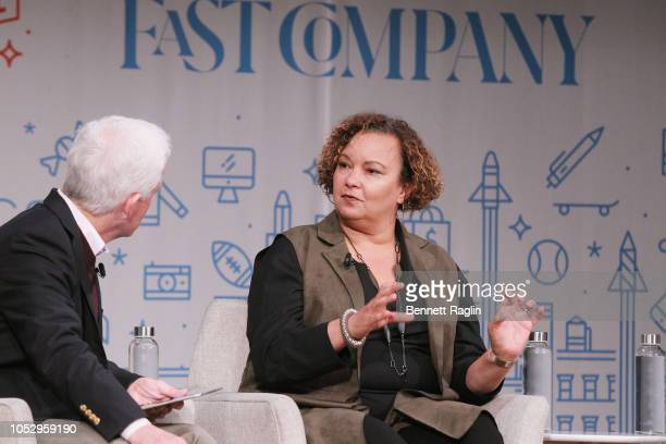 CEO Mansueto Ventures Eric Schenberg and VP of Environment Policy and Social Initiatives for Apple Lisa Jackson nstage during Both Sides Now How...