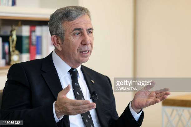 Mansur Yavas the mayoral candidate of the main opposition Republican Peoples Party speaks during an interview with AFP in Ankara on February 14 2019