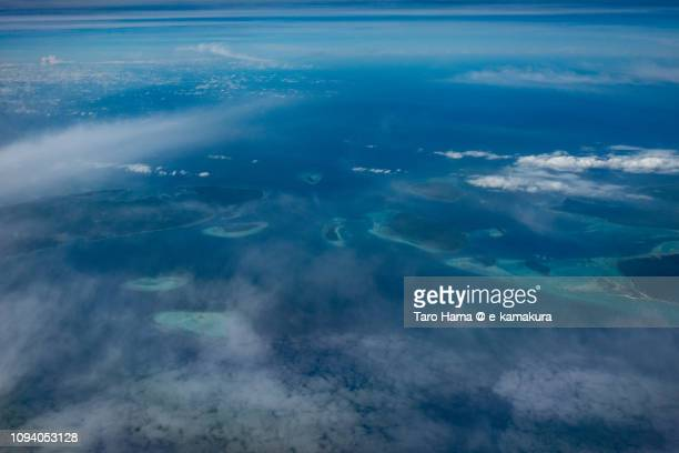 Mantangule Island in Balabac in Province of Palawan in Philippines daytime aerial view from airplane