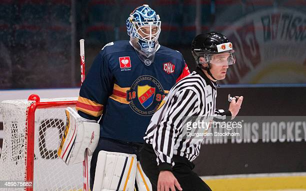 Mantas Armalis goalkeeper of Djurgarden during the Champions Hockey League round of thirty-two game between Djurgarden Stockholm and Vaxjo Lakers at...