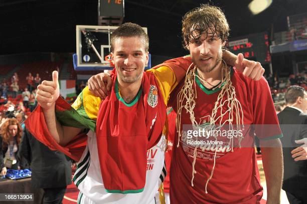 Mantas Kalnietis, #9 of PBC Lokomotiv Kuban Krasnodar and Simas Jasaitis, #13 celebrates during the 2013 Eurocup Champion Awards Ceremony at...