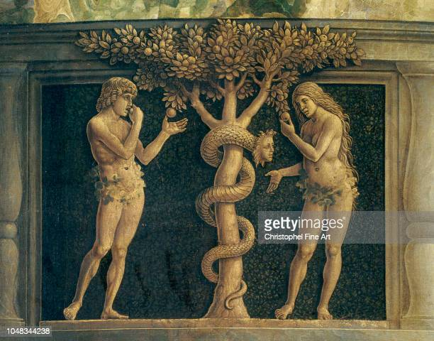 Mantegna Andrea Temptation of Adam and Eve crunching the apple Louvre Museum