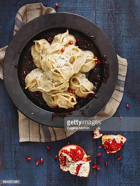 Manti dumplings with lamb meat