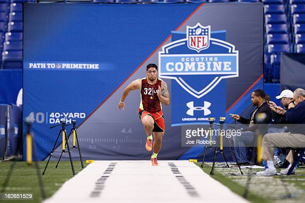 Manti Te'o of Notre Dame runs the 40yard dash during the 2013 NFL Combine at Lucas Oil Stadium on February 25 2013 in Indianapolis Indiana