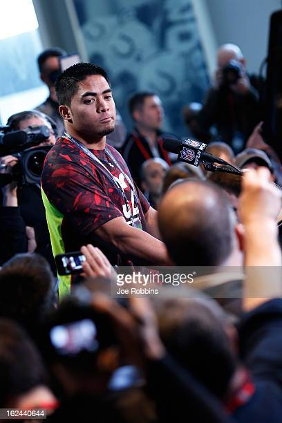 Manti Te'o of Notre Dame speaks to the media during the 2013 NFL Combine at Lucas Oil Stadium on February 23, 2013 in Indianapolis, Indiana.