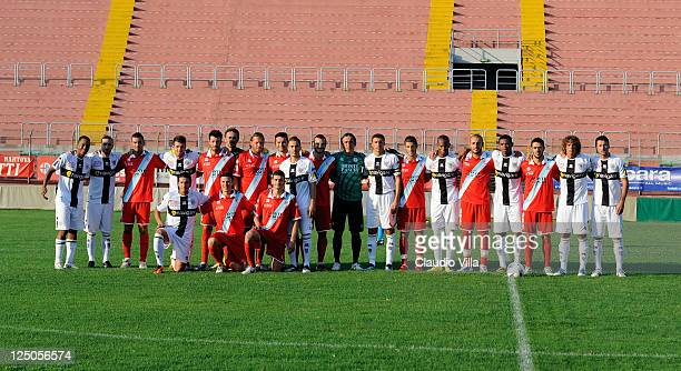 Mantova FC and Parma FC poses for a photo during the friendly match between Mantova and Parma FC at Danilo Martelli Stadium on September 15 2011 in...