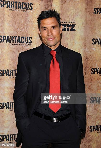 Manu Bennett arrives at the Starz original TV series 'Spartacus Blood and Sand' at Billy Wilder Theater on January 14 2010 in Westwood Village...