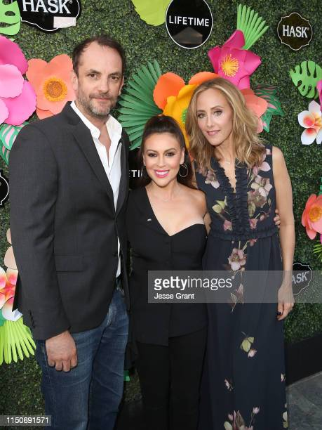 Manu Boyer Alyssa Milano and Kim Raver attend the Lifetime Summer Luau on May 20 2019 in Los Angeles California
