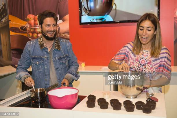 Manu Carrasco and Alma Obregon cooking some recepies with strawberries at the presentation of Fresas de Europa in Alimentaria at Fira de Barcelona on...