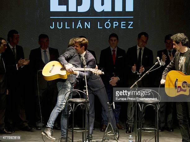 Manu Carrasco and Julian Lopez 'El Juli' attend the presentation of 'El Juli' 2014 Bullfighting Tour at Teatro Fernando Rojas del Circulo de Bellas...