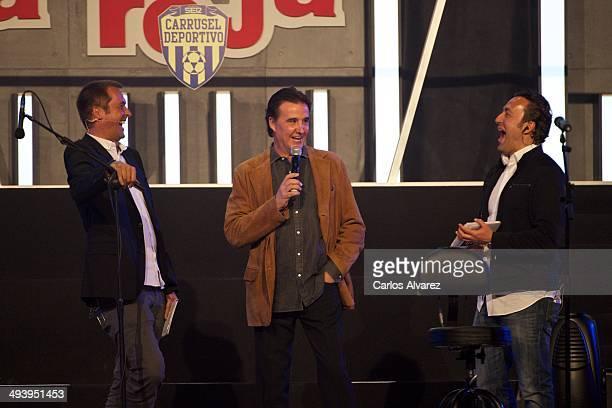 Manu Carreno Jose Ramon de la Morena and Jose Antonio Ponseti attend the Carrusel Deportivo and El Larguero radio programmes anniversary at the...