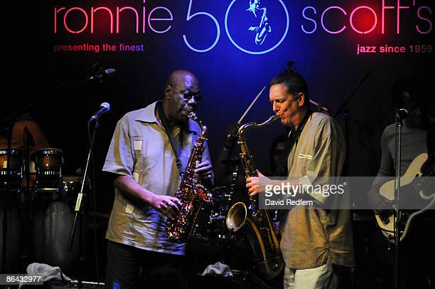 Manu Dibango performs on stage at Ronnie Scott's club on February 26, 2009 in London.