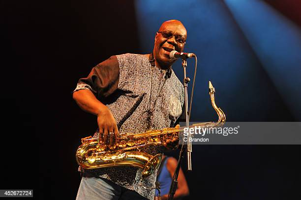Manu Dibango performs on stage at the Womad Festival at Charlton Park on July 25, 2014 in Wiltshire, United Kingdom.