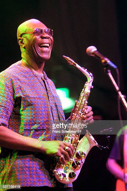 Manu Dibango vocal sax performs at the music Meeting in De Vereeniging on November 2nd 12002 in Nijmegen the Netherlands