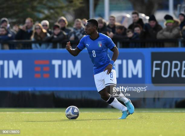Manu Emmanuel Gyabuaa of Italy in action during the U17 International Friendly match between Italy and Spain at Juventus Center Vinovo on January 17...