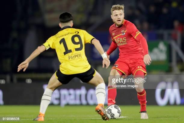Manu Garcia Alonso of NAC Breda Fredrik Midtsjo of AZ Alkmaar during the Dutch Eredivisie match between NAC Breda v AZ Alkmaar at the Rat Verlegh...