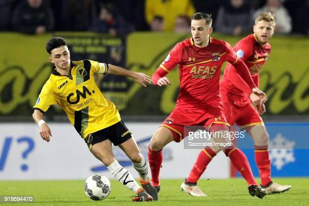 Manu Garcia Alonso of NAC Breda Mats Seuntjens of AZ Alkmaar during the Dutch Eredivisie match between NAC Breda v AZ Alkmaar at the Rat Verlegh...