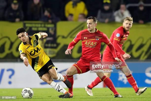 Manu Garcia Alonso of NAC Breda Mats Seuntjens of AZ Alkmaar Fredrik Midtsjo of AZ Alkmaar during the Dutch Eredivisie match between NAC Breda v AZ...