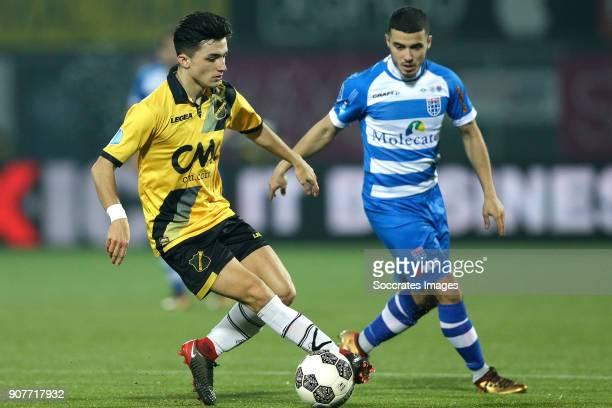 Manu Garcia Alonso of NAC Breda Mustafa Saymak of PEC Zwolle during the Dutch Eredivisie match between PEC Zwolle v NAC Breda at the MAC3PARK Stadium...