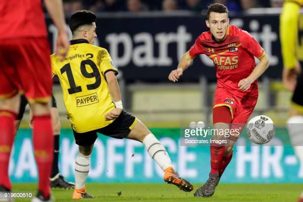Manu Garcia Alonso of NAC Breda Oussama Idrissi of AZ Alkmaar during the Dutch Eredivisie match between NAC Breda v AZ Alkmaar at the Rat Verlegh...