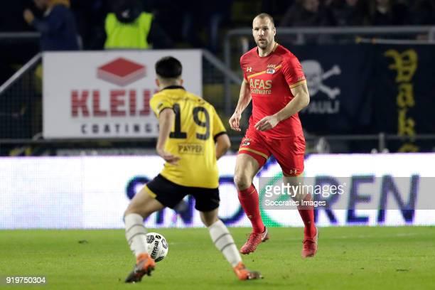 Manu Garcia Alonso of NAC Breda Ron Vlaar of AZ Alkmaar during the Dutch Eredivisie match between NAC Breda v AZ Alkmaar at the Rat Verlegh Stadium...