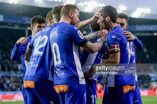 Manu Garcia of Deportivo Alaves celebrates 10 with Rodrigo Ely of Deportivo Alaves John Guidetti of Deportivo Alaves Munir El Haddadi of Deportivo...