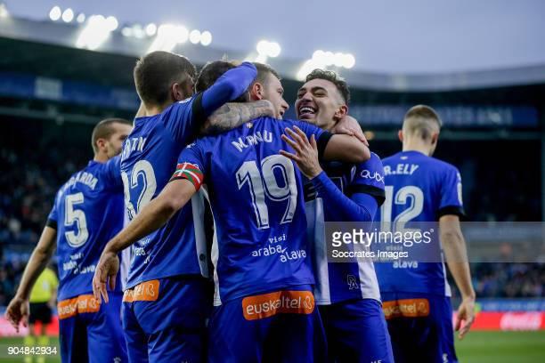 Manu Garcia of Deportivo Alaves celebrates 10 with Victor Laguardia of Deportivo Alaves Martin Aguirregabiria of Deportivo Alaves John Guidetti of...