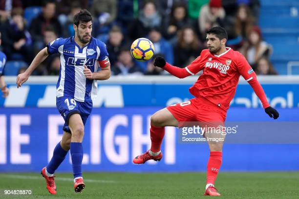 Manu Garcia of Deportivo Alaves Ever Banega of Sevilla FC during the La Liga Santander match between Deportivo Alaves v Sevilla at the Estadio de...