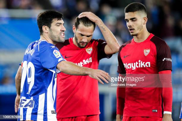 Manu Garcia of Deportivo Alaves Franco Vazquez of Sevilla FC Andre Silva of Sevilla FC during the La Liga Santander match between Deportivo Alaves v...