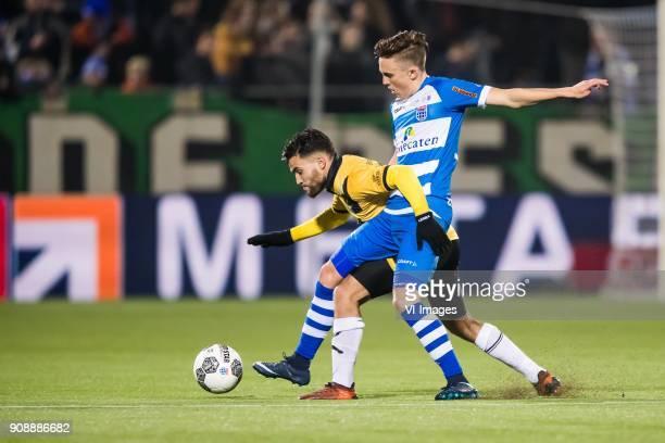 Manu Garcia of NAC Breda Ryan Thomas of PEC Zwolle during the Dutch Eredivisie match between PEC Zwolle and NAC Breda at the MAC3Park stadium on...