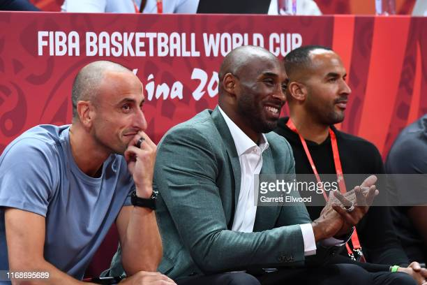 Manu Ginóbili and Kobe Bryant are seen reacting to a play between Argentina and France game during the 2019 FIBA World Cup SemiFinals at the Wukesong...