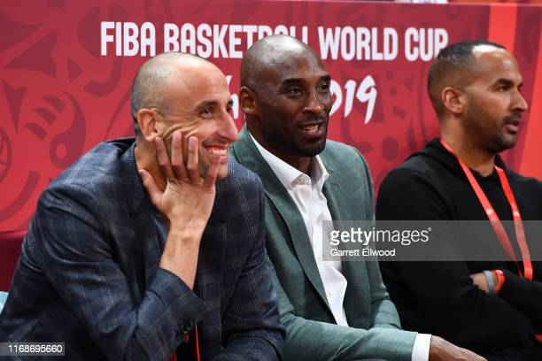 Manu Ginóbili and Kobe Bryant are seen talking to each other between Argentina and France game during the 2019 FIBA World Cup SemiFinals at the...