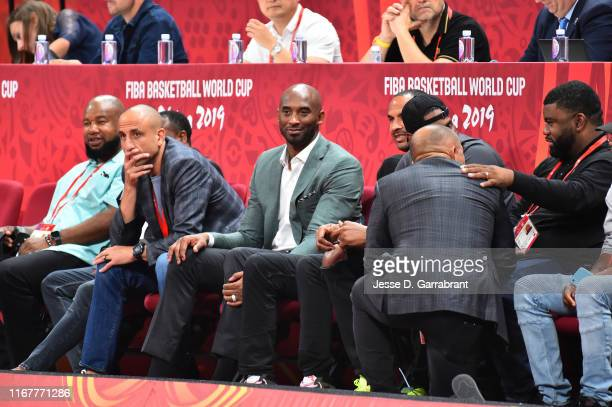 Manu Ginóbili and Kobe Bryants attend the game between Argentina and France during the 2019 FIBA World Cup SemiFinals at the Wukesong Sport Arena on...