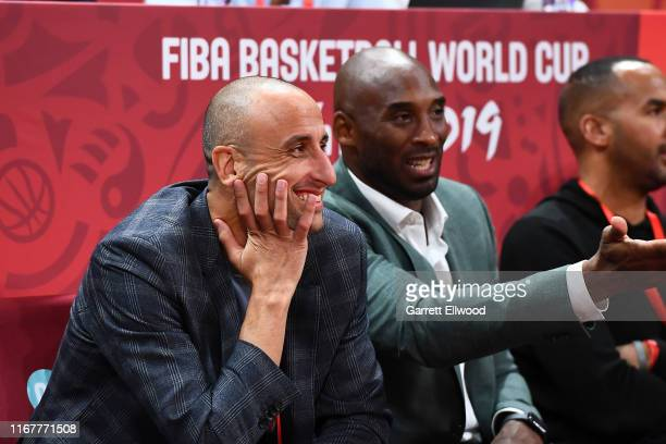 Manu Ginóbili Kobe Bryant are seen at the game between Argentina and France during the 2019 FIBA World Cup SemiFinals at the Wukesong Sport Arena on...