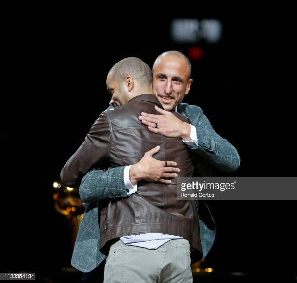 Manu Ginobili hugs exteammate Tony Parker during his retirement party at ATT Center on March 28 2019 in San Antonio Texas NOTE TO USER User expressly...