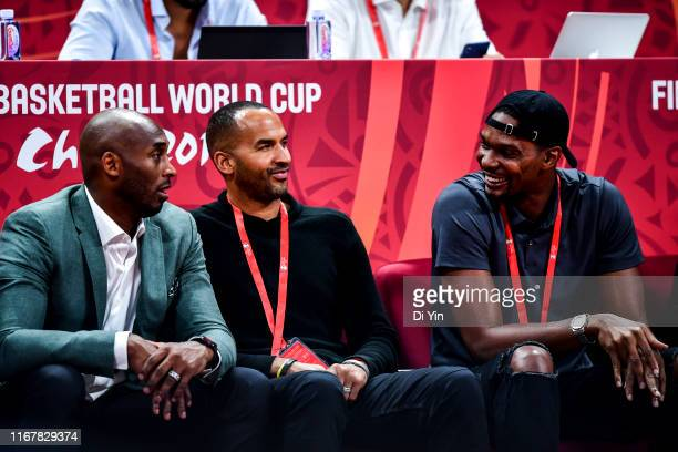 Manu Ginobili Kobe Bryant and Chris Bosh talks to each other during the semi final march between Argentina and France of 2019 FIBA World Cup at the...