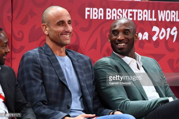 Manu Ginobili Kobe Bryant are seen at the game between Spain and Australia during the 2019 FIBA World Cup SemiFinals at the Wukesong Sport Arena on...