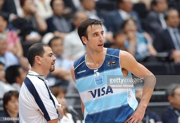 Manu Ginobili of Argentina and coach Sergio Fernandez during the FIBA World Championship 2006 Semi Final at the Saitama Super Arena, Tokyo, Japan,...