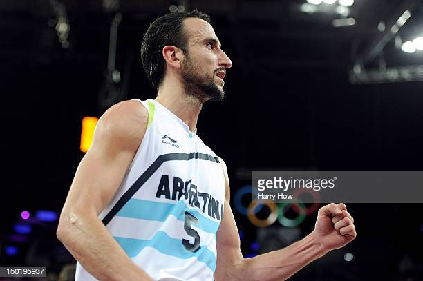 Manu Ginobili of Argentina celebrates making a layup during the Men's Basketball bronze medal game between Russia and Argentina on Day 16 of the...