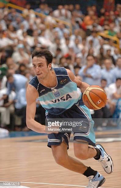 Manu Ginobili of Argentina on the drive during the FIBA World Championship 2006 Semi Final at the Saitama Super Arena Tokyo Japan Friday 1st...