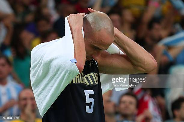 Manu Ginobili of Argentina reacts after losing to the United States during the Men's Basketball Quarterfinal game at Carioca Arena 1 on Day 12 of the...