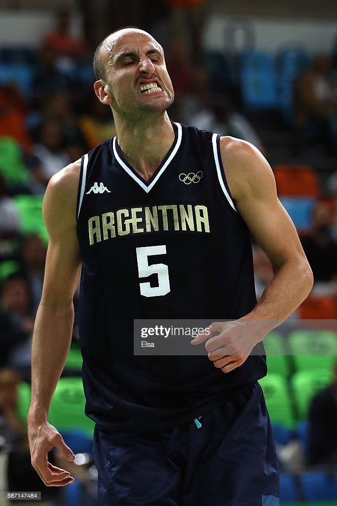 Manu Ginobili of Argentina reacts during a Men's preliminary round basketball game between Nigeria and Argentina on Day 2 of the Rio 2016 Olympic Games at Carioca Arena 1 on August 7, 2016 in Rio de Janeiro, Brazil.