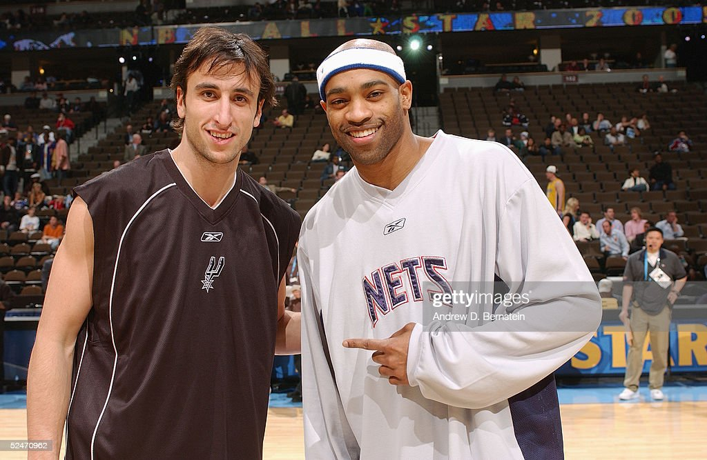 Manu Ginobili of the San Antonio Spurs and Vince Carter of the New Jersey Nets pose for a photograph before the 54th All-Star Game, part of 2005 NBA All-Star Weekend at Pepsi Center on February 20, 2005 in Denver, Colorado. The East defeated the West 125-115.